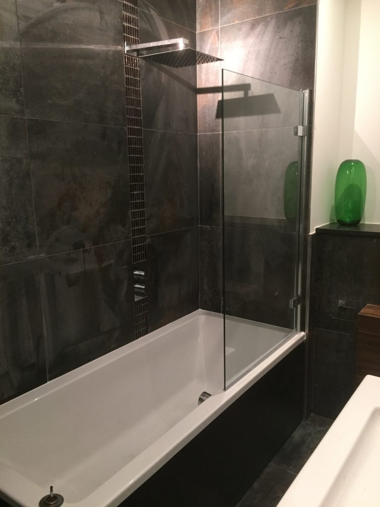 new bathroom, over head shower, wood finish, shore bathrooms, Bristol