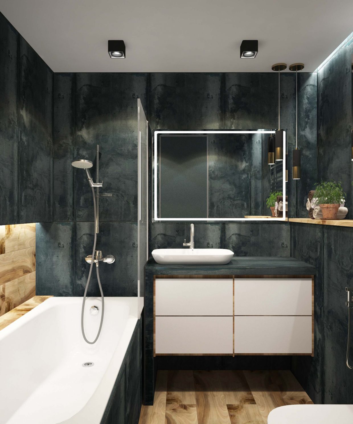 gorgeous dark walled bathroom with white accents